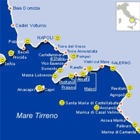 mapa Costa Amalfitana