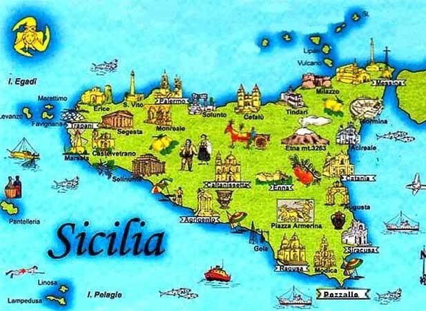 Roteiros na itália mapa da sicília